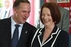 John Key and Julia Gillard. Photo / Greg Bowker