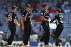 Black Caps bowler Hamish Bennett is congratulated by team mates after bowling Steve Tikolo of Kenya during their 2011 ICC World Cup Group A match. Photo / Getty Images