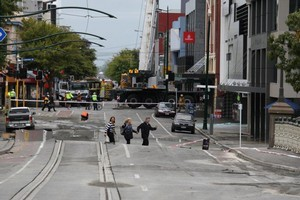 Damage to Armagh Street. Photo / NZPA
