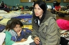 Naomi Genet and daughter Paytra Genet, 11, at the Welfare Centre at Cowles Stadium yesterday. Photo / NZPA