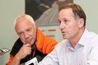 Prime Minister John Key speaking and Christchurch Mayor Bob Parker at a press conference. Photo / NZPA