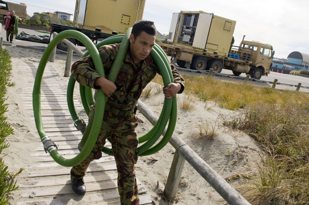 Working to set up the water facilities. Photo / NZDF