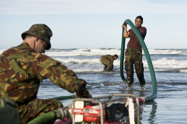 Army personnel working to provide fresh water to people affected by the earthquake. Photo / NZDF