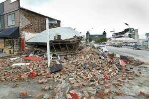 A collapsed building near AMI Stadium in Christchurch. Photo / Getty Images