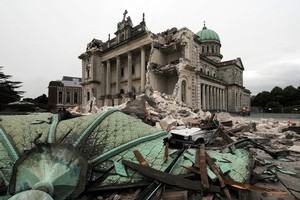 The Christchurch Catholic Cathedral after the 6.3 earthquake. Photo / NZPA