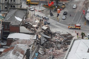 Collapsed buildings in central Christchurch. Photo / Mark Mitchell