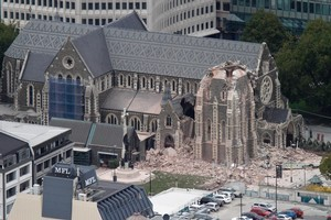 The Christchurch Cathedral was damaged by the 6.3 earthquake. Photo / Mark Mitchell