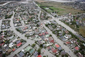 Eastern suburbs are flooded after Christchurch was hit by a 6.3 magnitude earthquake today. Photo / Sarah Ivey