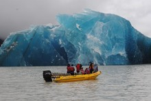 Tourists got to see the magnificent blue undersides of the icebergs. Photo / Glacier Explorers