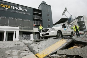 Destroyed roads outside AMI Stadium. Photo / Greg Bowker