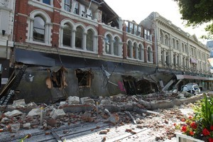 Cashel Mall in Christchurch after the February 22 earthquake. Photo / Simon Baker