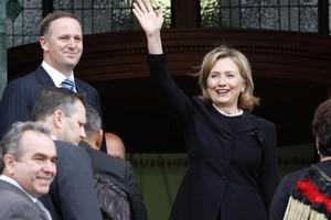 US Secretary of State Hillary Clinton with John Key. Photo / Mark Mitchell