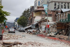 Manchester Street in central Christchurch after the 6.3 earthquake. Photo / Simon Baker