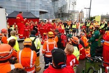 New Zealand Civil Defence meeting in Christchurch's CBD after the second big earthquake which caused extensive damage and loss of life. Photo / Brett Phibbs