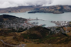 Lyttelton Port was damaged in the quake but was relatively unscathed compared with the Timeball Station. Photo / Sarah Ivey