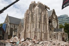 The Christchurch community hope to see their iconic Cathedral rebuilt. Photo / Mark Mitchell