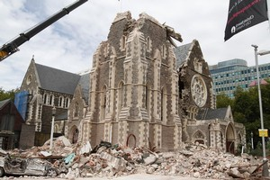 The Christchurch Cathedral which was badly damaged in Tuesday's earthquake. Photo / Mark Mitchell