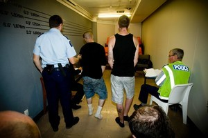 Two men charged with the thef of emergency generators appear in the makeshift Christchurch District Court earlier this week. Photo / Dean Purcell