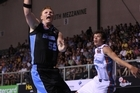 Gary Wilkinson, of the Breakers, shoots in last night's match against the Gold Coast Blaze in Auckland. Photo / Getty Images