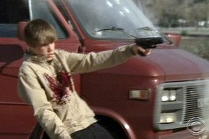 Justin Bieber (and plenty of ketchup by the look of it) down in a hail of bullets on the hit show CSI. Screen grab / CBS