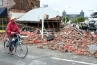A building on the corner of Lancaster Street collapsed after the 6.3 Christchurch earthquake. Photo / NZPA