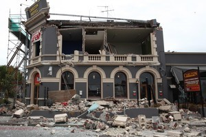 The Carlton Hotel, after the 6.3 earthquake. Photo / NZPA