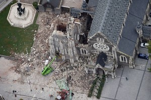 The ChristChurch Cathedral after Tuesday's earthquake. Photo / Sarah Ivey