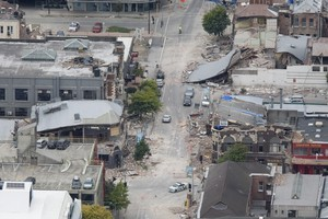 Damaged buildings in central Christchurch. Photo  / Mark Mitchell