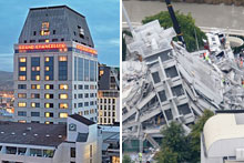 The Pyne Gould Guinness building after yesterday's earthquake in Christchurch. Photo / Mark Mitchell