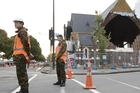 Soldiers manning a cordon in the centre of Christchurch. Photo / Mark Mitchell