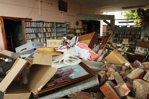 Inside David's Bookstore in Christchurch after the earthquake. Photo / Getty Images