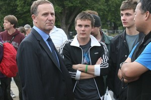Prime Minister John Key in Christchurch after the earthquake. Photo / Greg Bowker