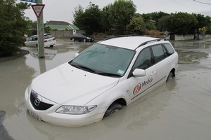 Liquefaction in the Shirley area of Christchurch. Photo / Glenn Coster