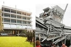 Before and after photos of the Pyne Gould Corp building in central Christchurch via Twitter.