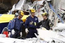 New South Wales rescuers in rubble after the earthquake in Christchurch. Photo / Greg Bowker