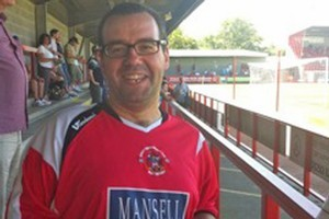 Stephen Hitchcock wearing his Crawley Town shirt.