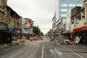 A deserted street in the city centre of Christchurch today. Photo / Getty Images