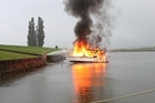 The blaze seems to have started when a problem with the boat's ignition caused petrol to catch fire. Photo / Katie Anderson