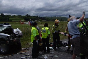 A rescue helicopter took an injured passenger to hospital in Palmerston North. Photo / Supplied