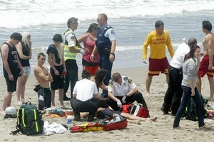 Two children have been hospitalised after being rescued from a rip at Papamoa Beach. Photo / Chris Callinan