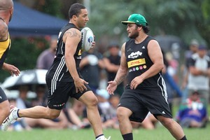 Kiwis captain Benji Marshall and All Black Piri Weepu turned out for the Baa Baaz in Whakatane yesterday. Photo / Ben Fraser