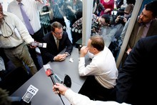 National Party leader John Key and Act Party member John Banks during the infamous 'tea-tape' meeting. Photo / Dean Purcell