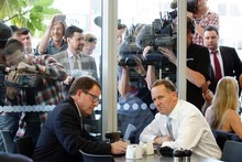 John Banks, left, and John Key at their now infamous 'cup of tea' meeting. Photo / NZ Listener