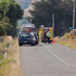 Emergency services at the scene of the accident on Somerset Road, Carterton. Photo / APN