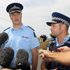 District Commander, Superintendent Mike Rusbatch (L) with Wairarapa Area Commander, Inspector Brent Register speak to the media during a press conference. Photo / Getty Images