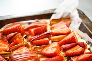 Rhubarb and strawberries make a happy marriage. Photo / Jason Dorday