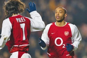 Thierry Henry, right, with Robert Pires in more successful times at Arsenal. Photo / Getty Images