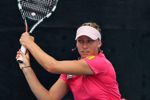 Yanina Wickmayer of Belgium plays a shot in her match against Karolina Pliskova of Czech Republic. Photo / Getty Images