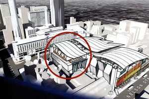 The circled building in SkyCity's plans for a convention centre is on TVNZ land. Photo / Supplied