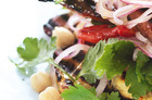 Haloumi, chickpea and chorizo salad. Photo / Chris Court